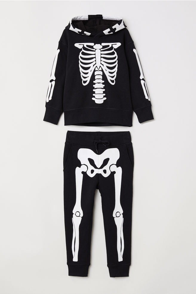 85f9f9a04d1bc5 Hooded Sweatshirt and Joggers - Black/skeleton - Kids | H&M ...