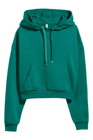 Short hooded top - Dark green -  | H&M GB