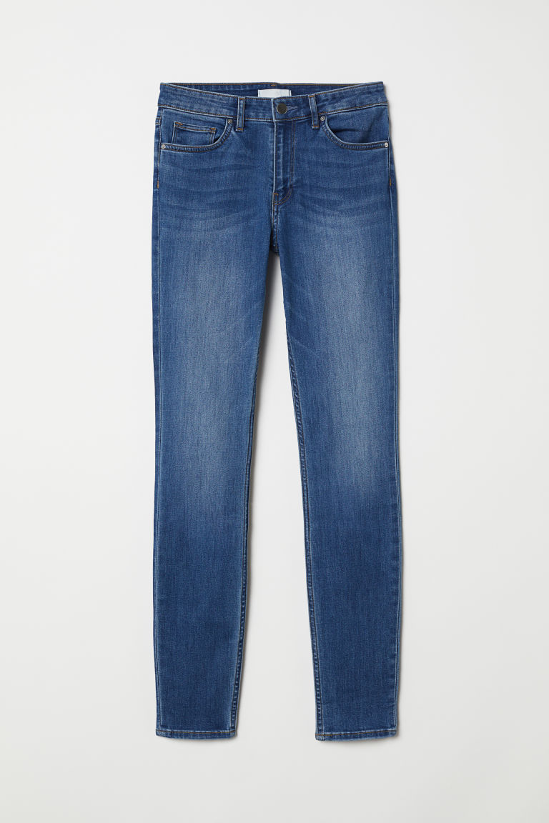Superstretchbroek - Skinny Fit - Denimblauw met wassing - DAMES | H&M BE