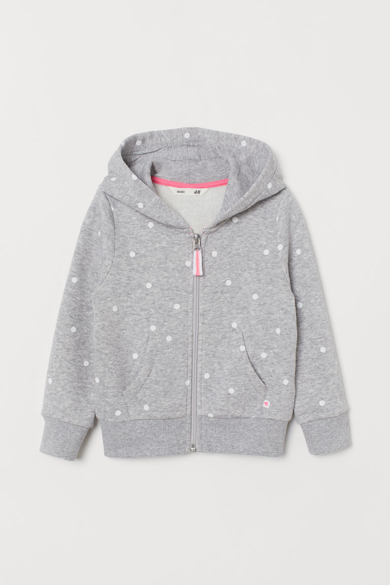 Hooded jacket - Grey marl/Spotted - Kids | H&M CN