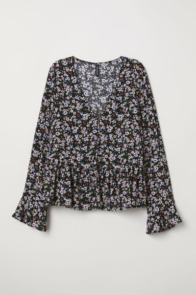 V-neck blouse with buttons - Black/Floral -  | H&M IN
