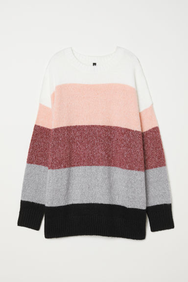 Knitted jumper - Burgundy/Striped -  | H&M
