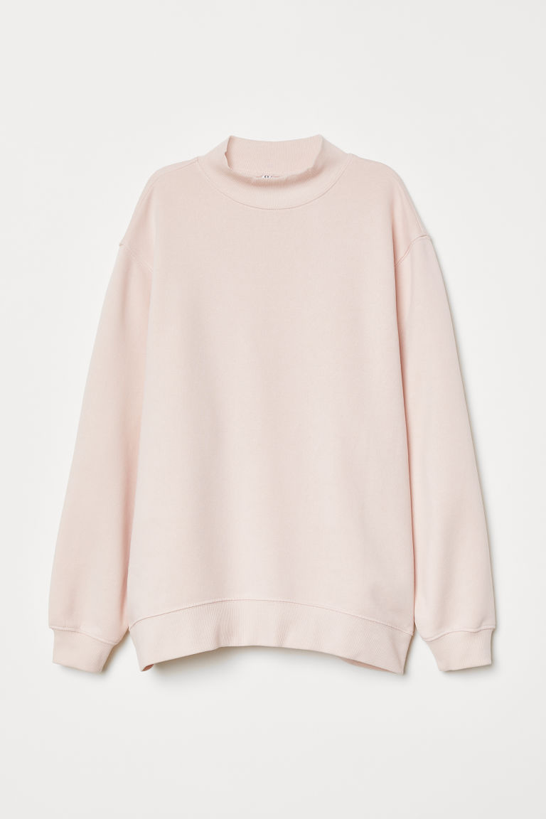 Mock-turtleneck Sweatshirt - Light pink -  | H&M US