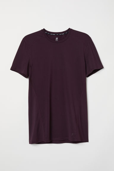 Short-sleeved sports top - Dark purple - Men | H&M CN