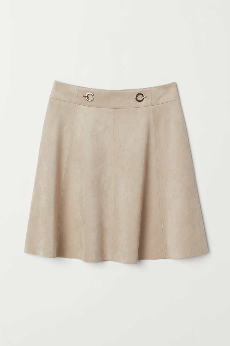 Short imitation suede skirt - Light beige -  | H&M
