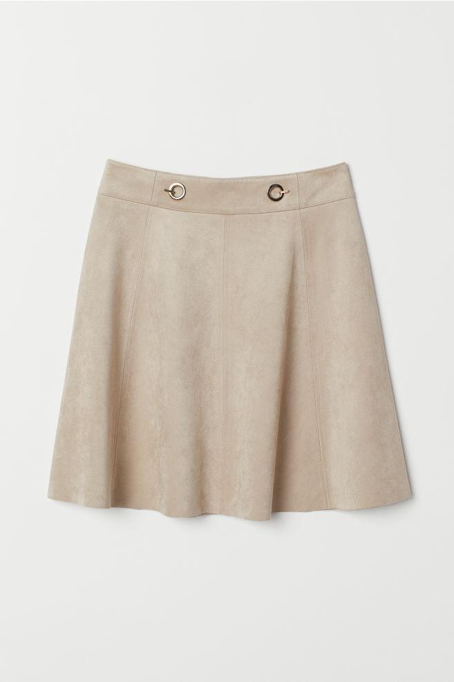 270b93f094 Short Faux Suede Skirt - Light beige - | H&M ...