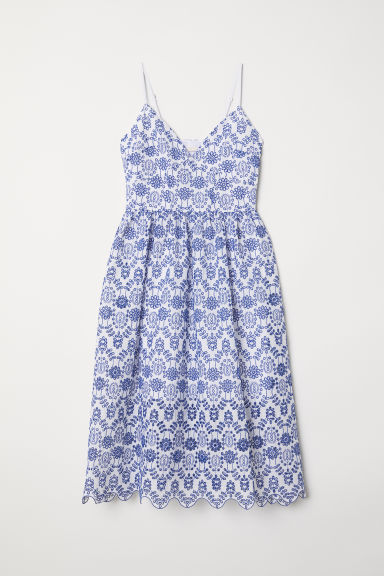 Dress with broderie anglaise - White/Blue - Ladies | H&M CN