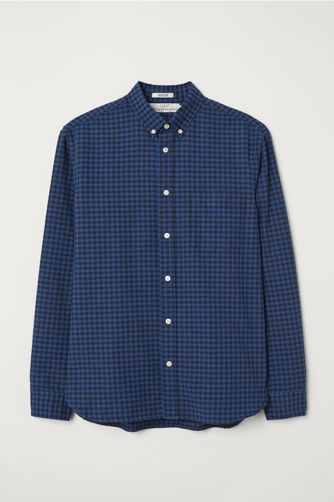 Donkerblauw Overhemd.Overhemd Regular Fit Donkerblauw Geruit Heren H M Nl