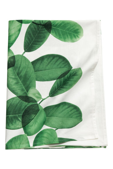 Patterned cotton tablecloth - White/Leaves - Home All | H&M CN