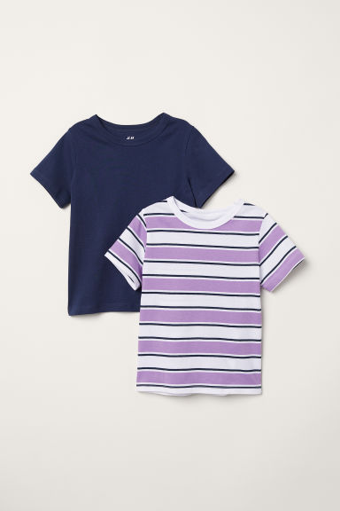 2-pack T-shirts - Purple/Striped - Kids | H&M CN