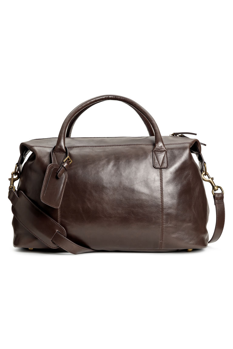 Leather weekend bag - Dark brown - Men | H&M GB