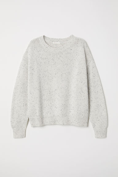 Knitted jumper - Natural white/Nepped - Ladies | H&M CN