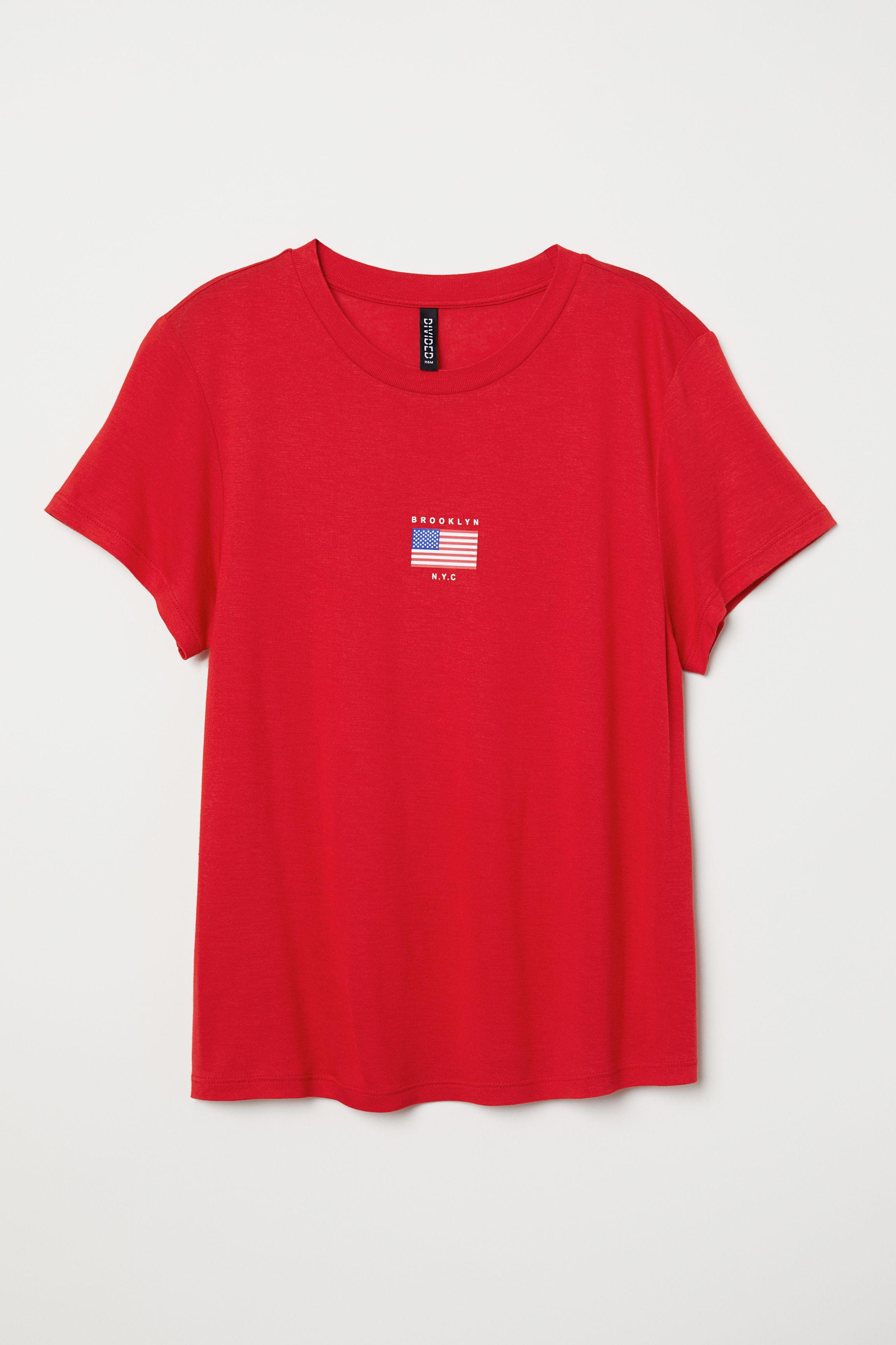 aa6ac5aecbb07f T-shirt with Motif - Red Brooklyn - Ladies