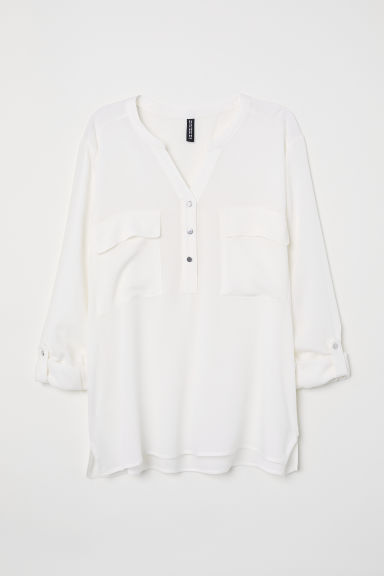 V-neck blouse - White -  | H&M