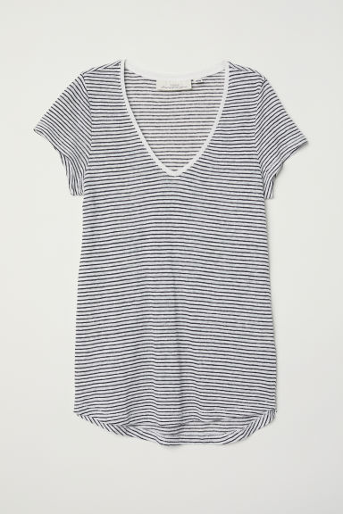 Linen top - White/Striped - Ladies | H&M