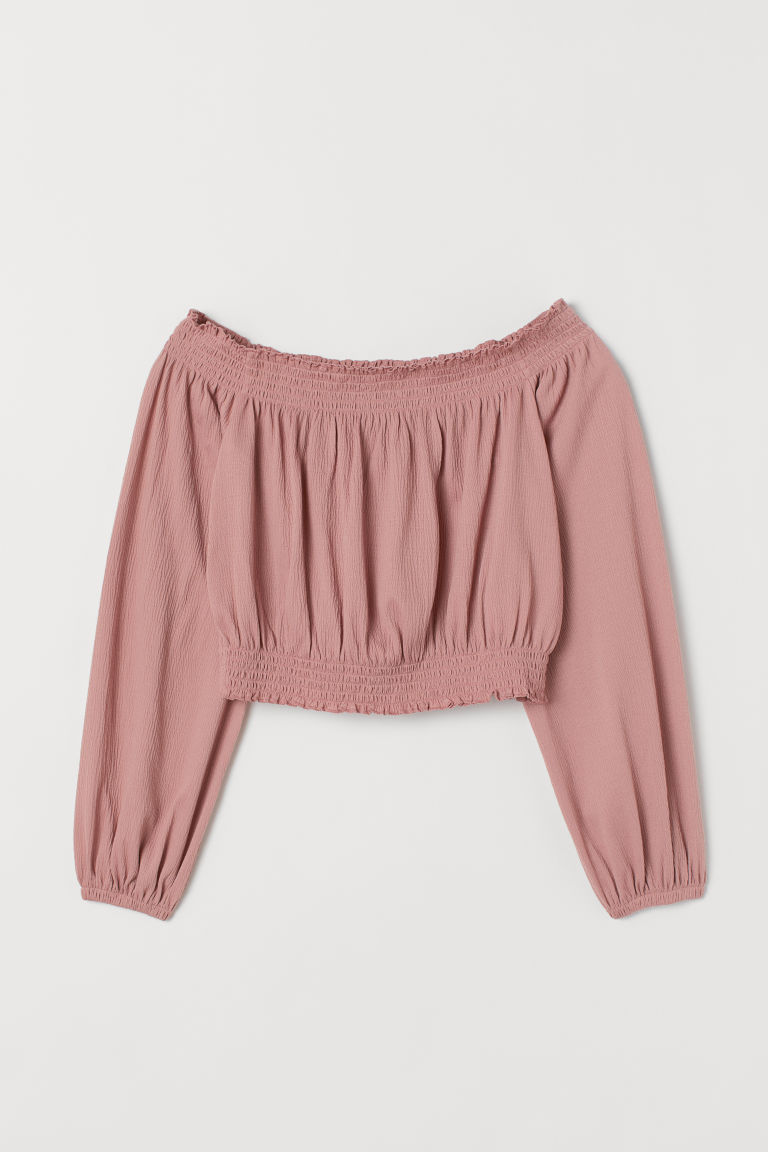 Off-the-shoulder Top - Vintage pink -  | H&M US