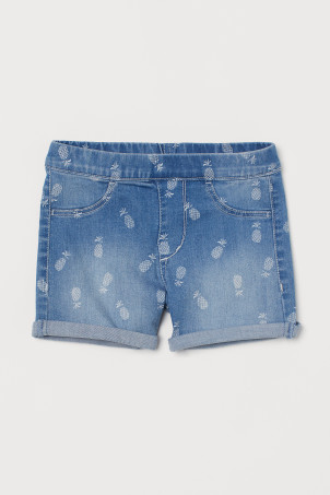 Denim short met print