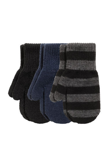 3-pack mittens - Black/Grey striped - Kids | H&M
