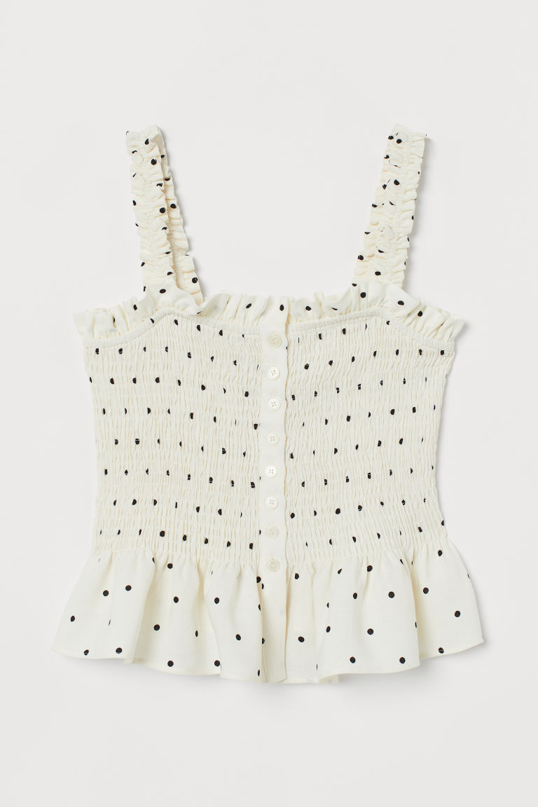 Smocked linen-blend top - Natural white/Spotted - Ladies | H&M GB