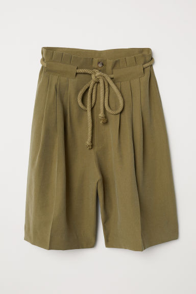Paper bag shorts - Olive green - Ladies | H&M CN