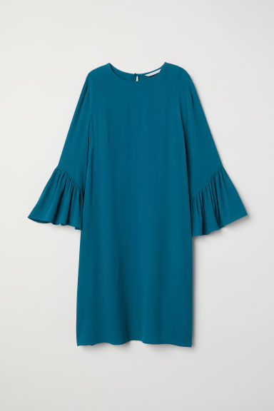 Flounce-sleeved dress - Dark turquoise - Ladies | H&M CN