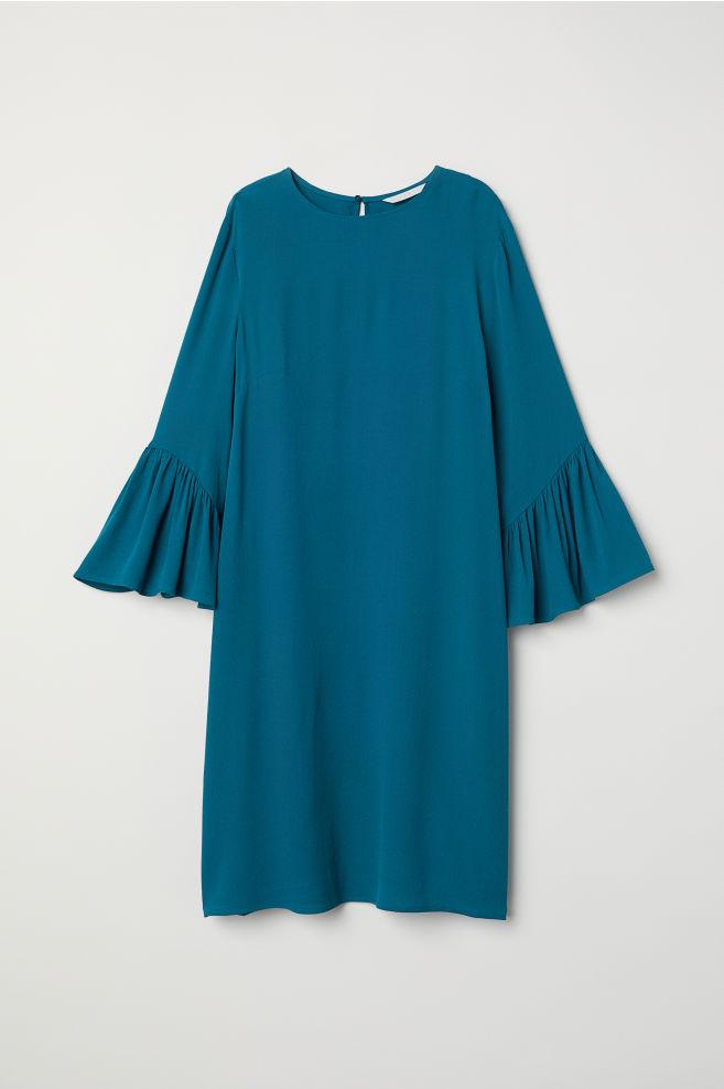 34fe4cca8c16 Flounce-sleeved Dress - Dark turquoise - Ladies   H&M ...
