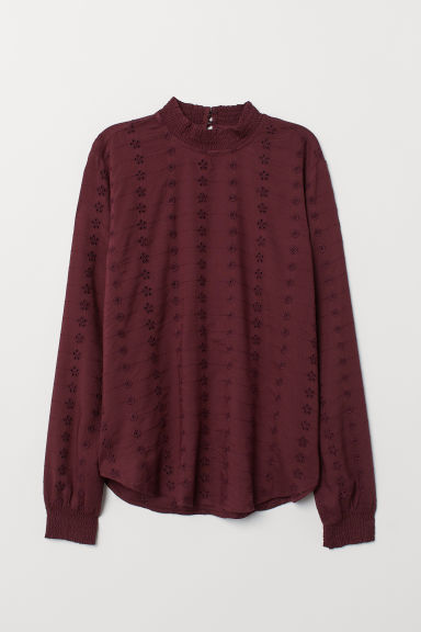 Blouse with broderie anglaise - Burgundy - Ladies | H&M CN