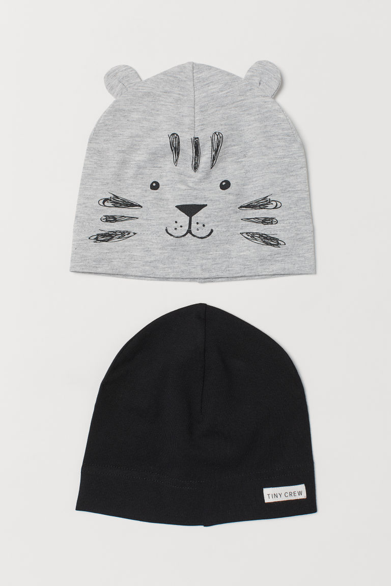 2-pack Jersey Hats - Gray melange/tiger - Kids | H&M US