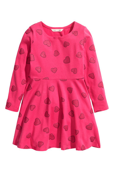 Jersey dress - Cerise/Glittery hearts - Kids | H&M CN