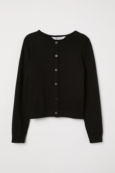 Fine-knit cardigan - Black - Kids | H&M GB
