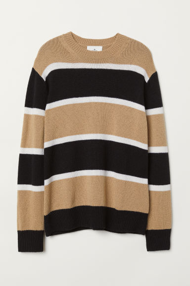 Cashmere-blend jumper - Beige/Striped - Men | H&M CN