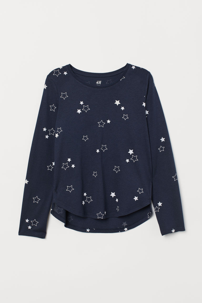 Modal-blend top - Dark blue/Stars - Kids | H&M CN