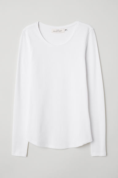 Long-sleeved Jersey Top - White - Ladies | H&M US