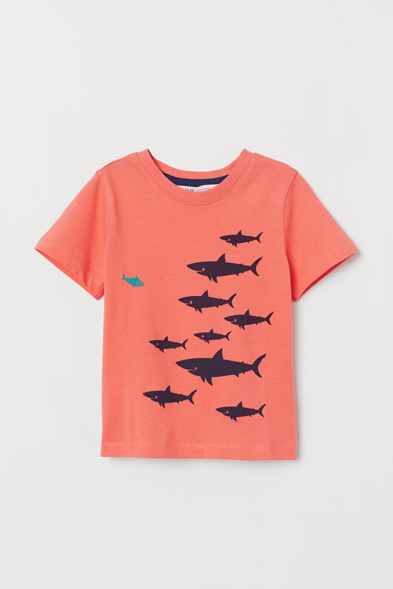 Printed T-shirt - Coral/Sharks - Kids | H&M CN