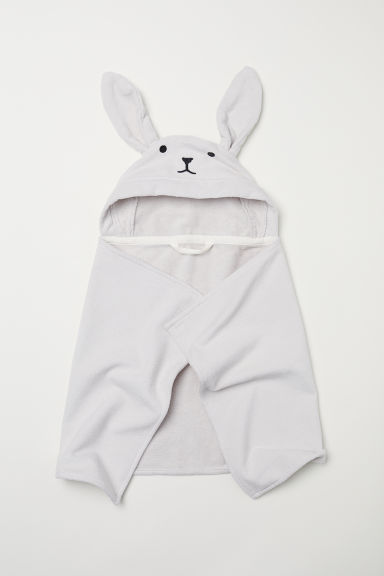 Hooded towel - Light grey/Rabbit - Kids | H&M CN