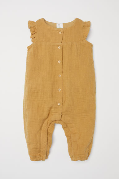 Cotton romper suit - Dark mustard yellow - Kids | H&M CN