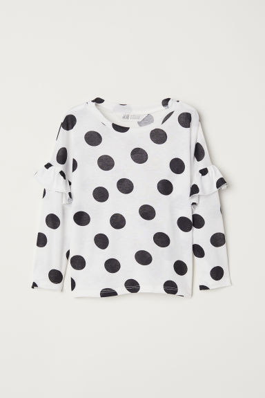 Top with flounces - White/Spotted - Kids | H&M CN