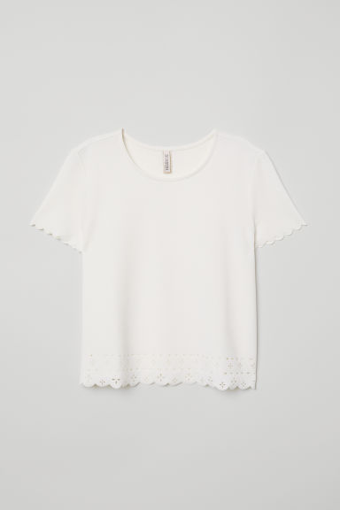 Top con bordi smerlati - Bianco - DONNA | H&M IT