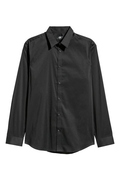 Camicia elasticizzata Slim fit - Nero -  | H&M IT