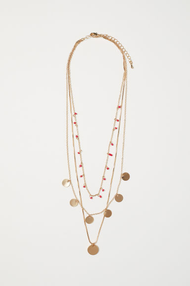 Three-strand necklace - Gold-coloured/Red beads - Ladies | H&M