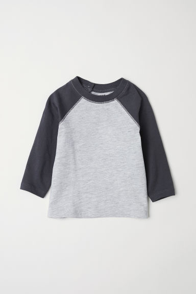 Long-sleeved T-shirt - Light grey/Dark grey -  | H&M