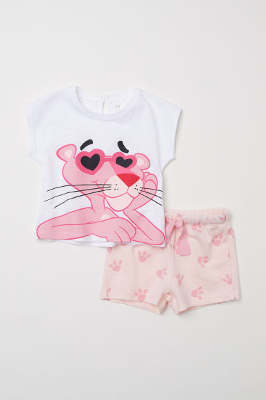 T-shirt and shorts - Light pink/Pink Panther -  | H&M CN