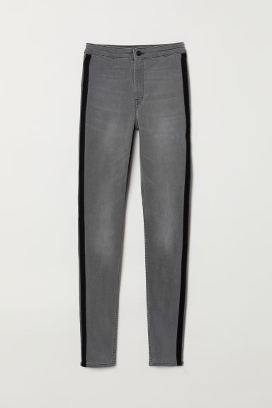 Twill side-striped trousers - Denim grey/Black -  | H&M CN