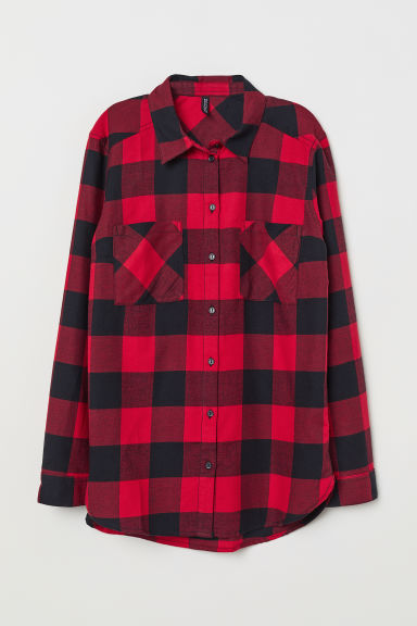 Cotton Shirt - Red/black checked - Ladies | H&M CA