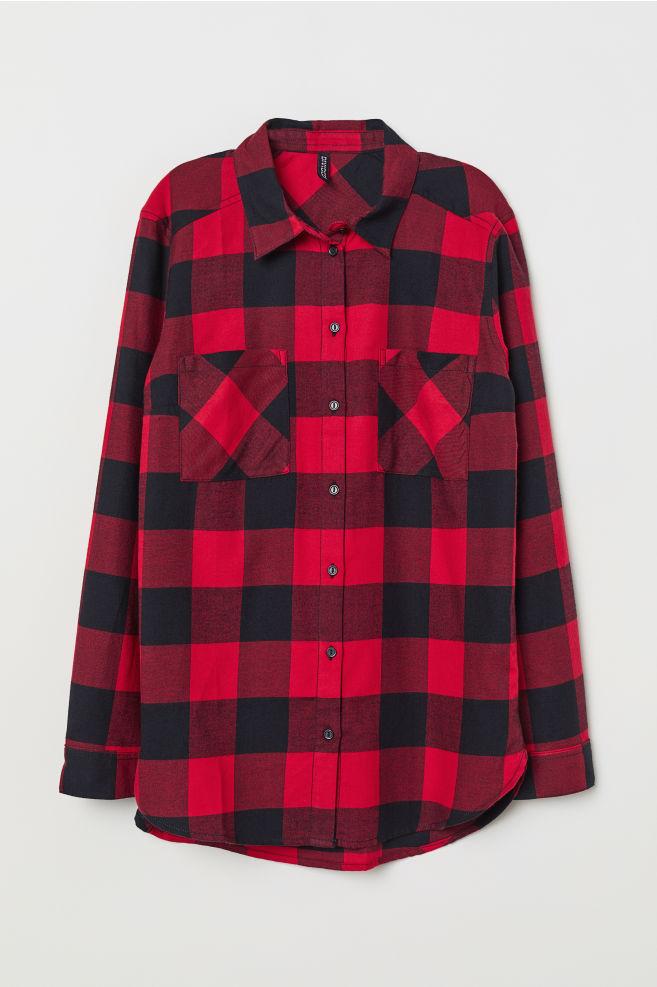 Chemise en coton - Rouge noir carreaux - FEMME   H M ... 8ec57ffd5d0d