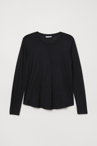Long-sleeved jersey top - Black - Ladies | H&M