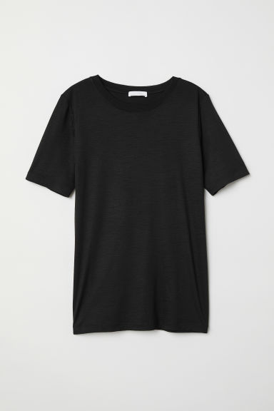 Wool T-shirt - Black - Ladies | H&M