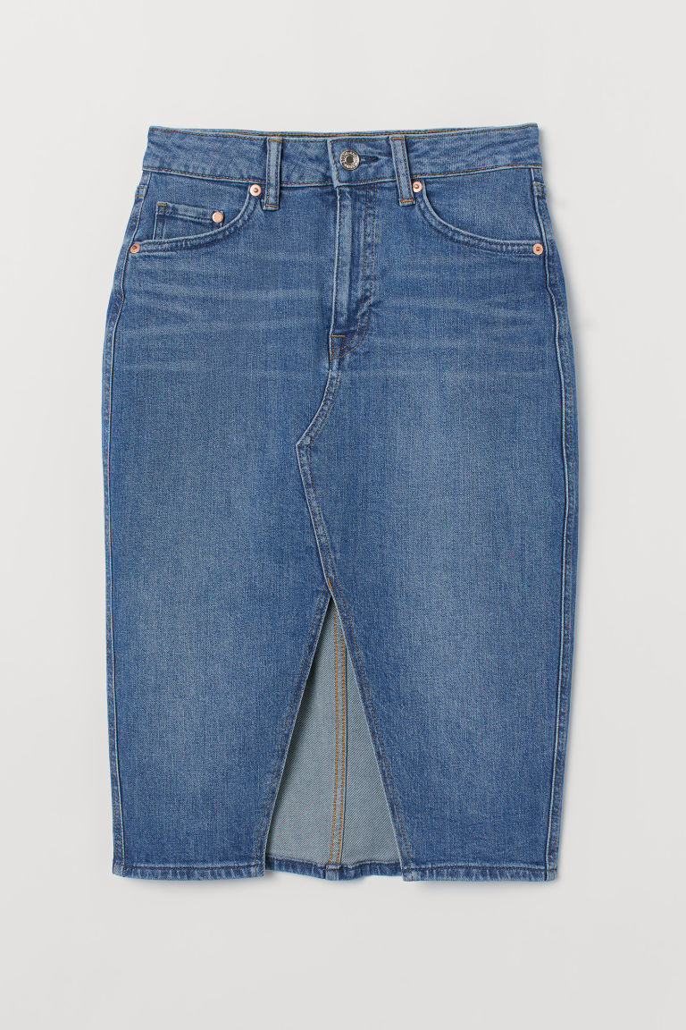 Knee-length denim skirt - Denim blue -  | H&M IE