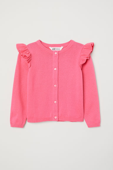 Fine-knit frilled cardigan - Pink - Kids | H&M CN