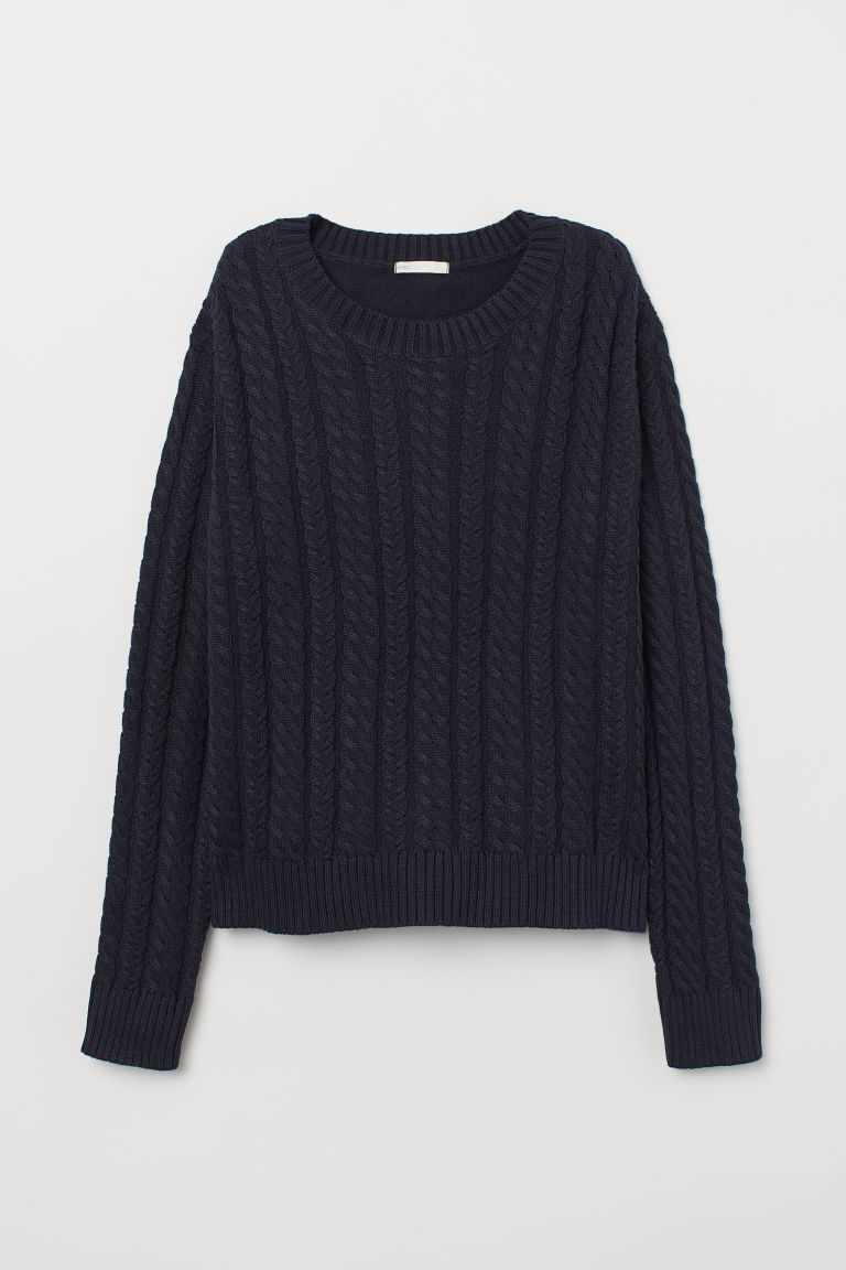 Cable-knit jumper - Dark blue - Ladies | H&M CN